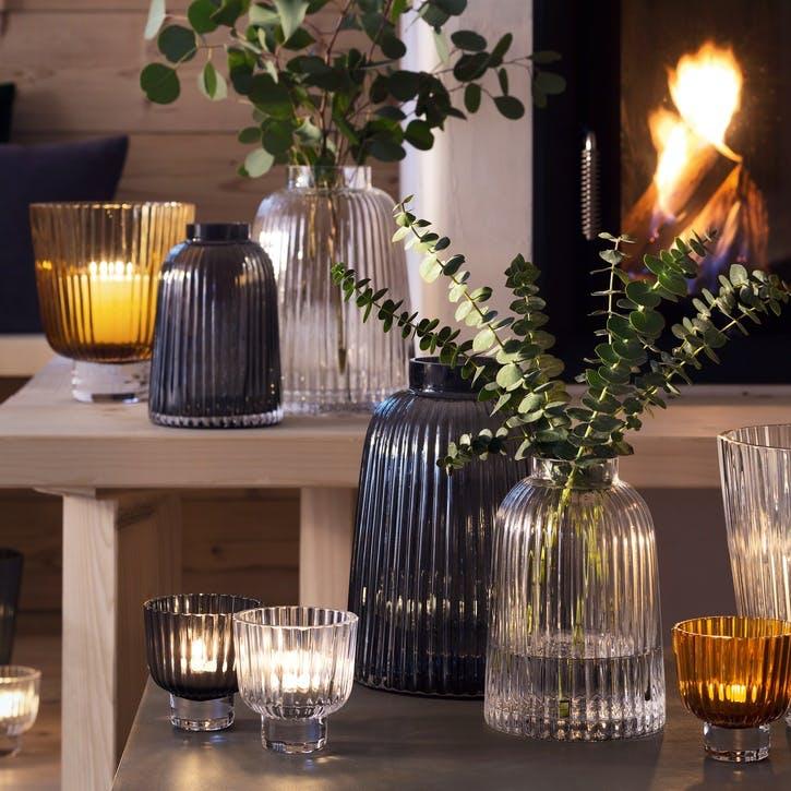 Pleat Vase - 20cm; Grey