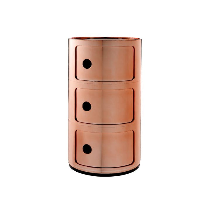Componibili, 3 Door Cabinet, Copper