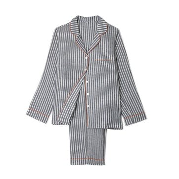 Midnight Stripe Linen Pyjama Set, Large