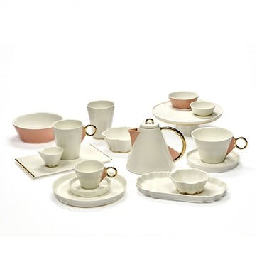 Desiree, Set of 4 Cappucino Cup Saucers, White