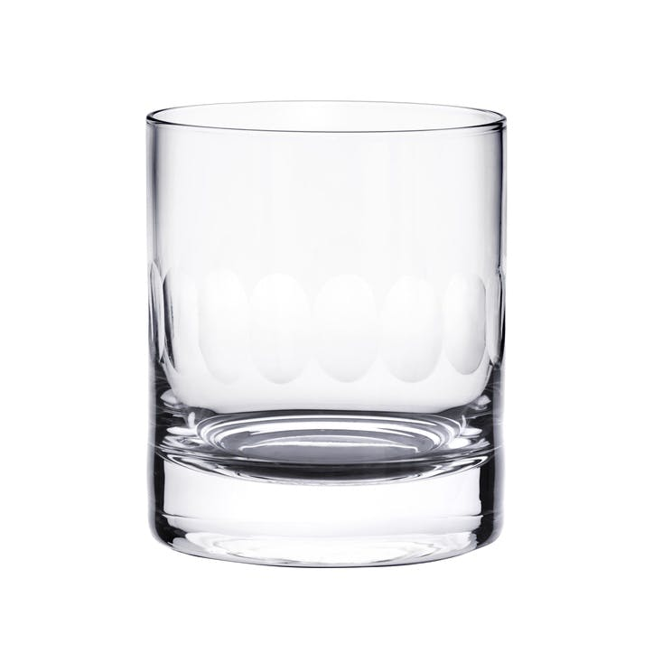 Lens Patterned Crystal Whisky Glasses, Set of 2