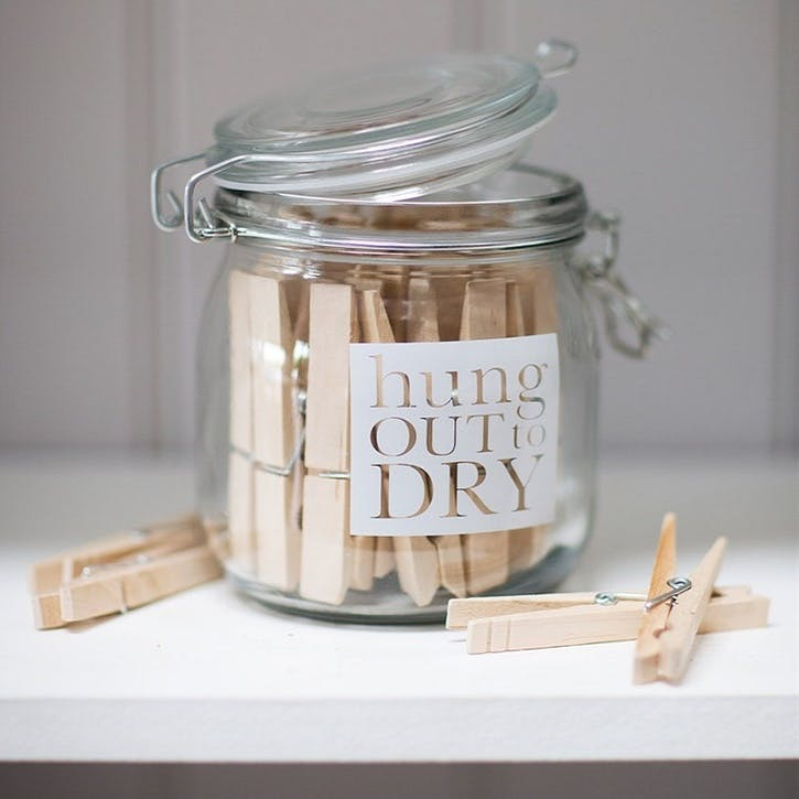 Hung Out to Dry Storage Jar with 24 Pegs