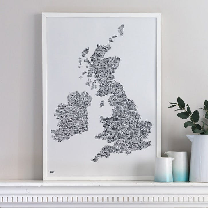 Illustrated Map Screen Print UK & Ireland, 100cm x 70cm, Sheer Slate