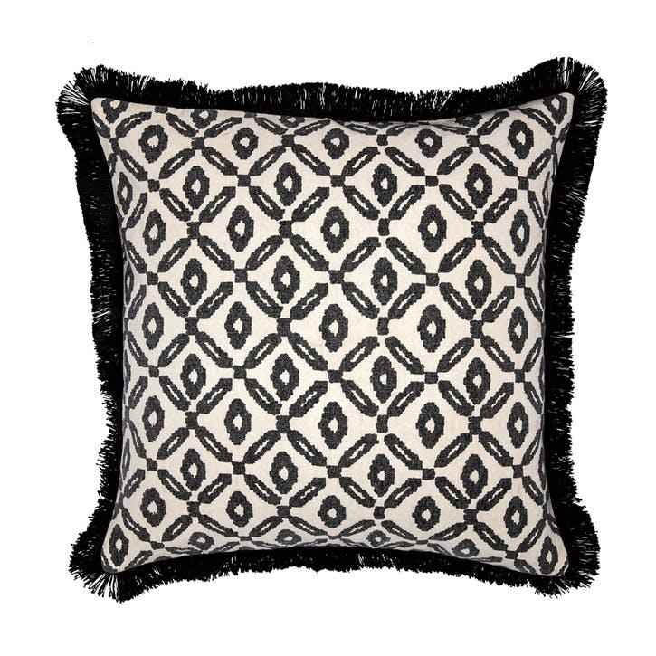 Fringed Printed Canvas Cushion