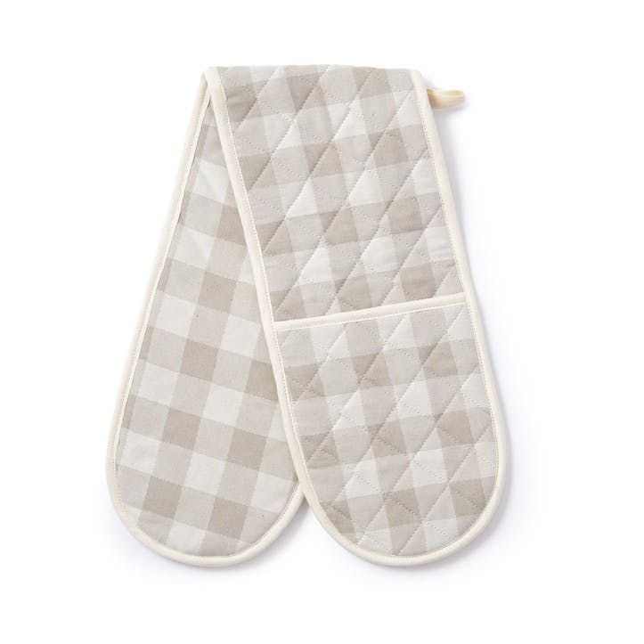 Woodhouse Check Double Oven Glove, Fawn