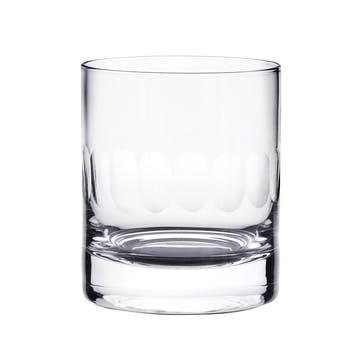 Lens Patterned Crystal Whisky Glasses, Set of 2
