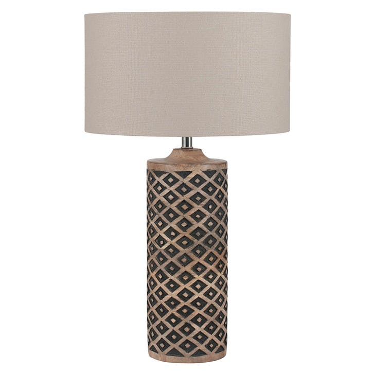 Orissa Tall Wooden Diamond Table Lamp