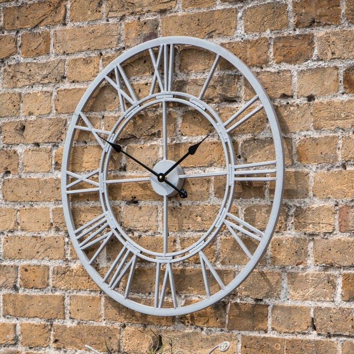 Outdoor Skeleton Wall Clock, 70cm, Distressed Grey