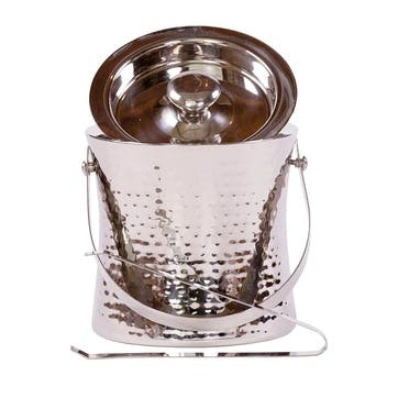 Elegant Hammered Ice Bucket, Stainless Steel