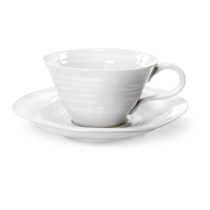 Teacup & Saucers, Set of 4; White
