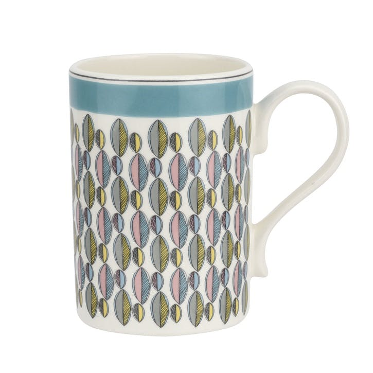 Westerly Mug, Set of Four - 12oz; Turquoise Band