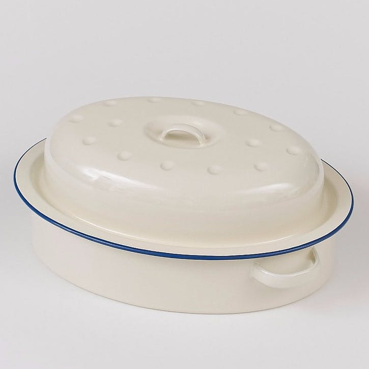 Large Oval Roaster with Blue Rim