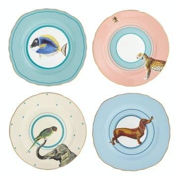 Colourful Animal Cake Plates, Mixed Set of 4