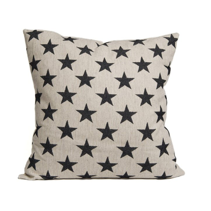 Antares Star Cushion Black On Linen, 60cm