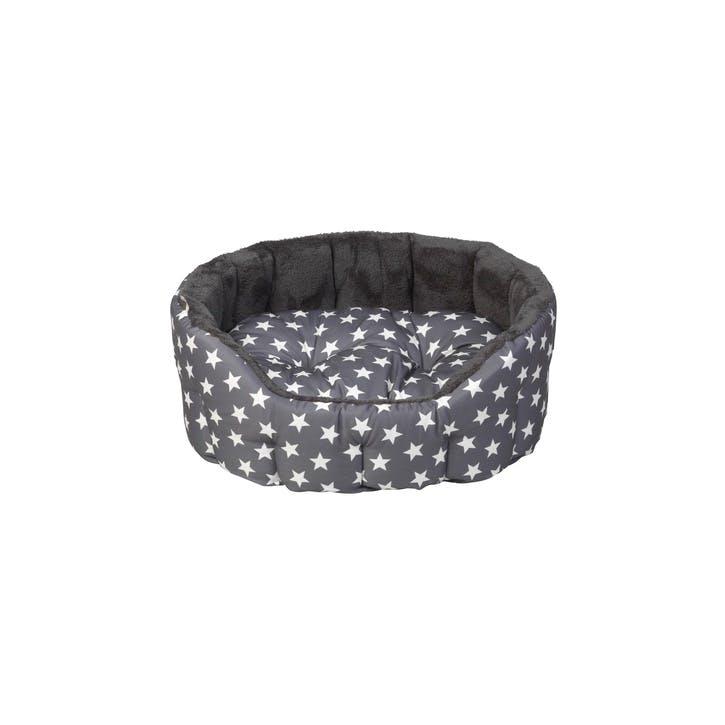 Star Print Reversible Oval Plush Pet Bed, S, Grey