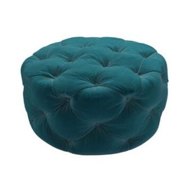 Georgette, Round Footstool, Deep Turquoise Cotton Matt Velvet
