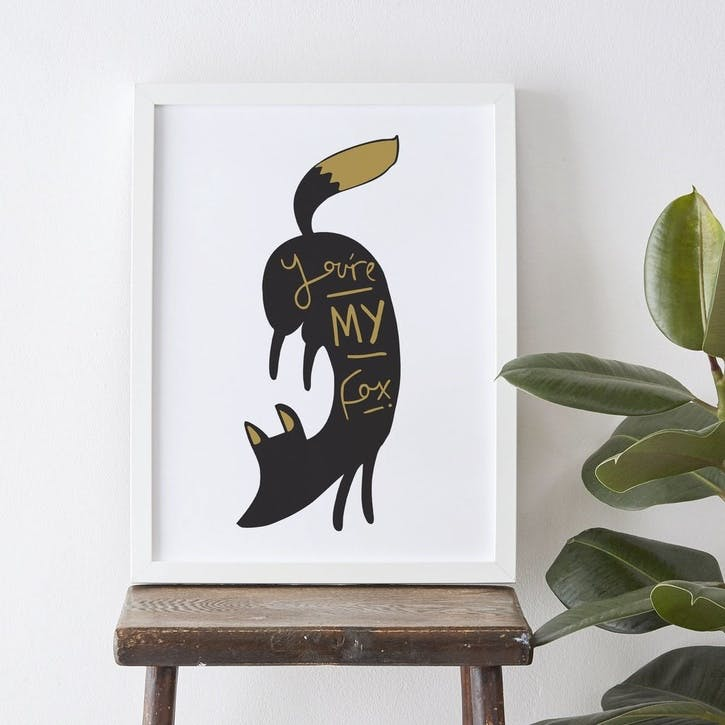 'You're My Fox' Print, A3, Black & Gold, White Background