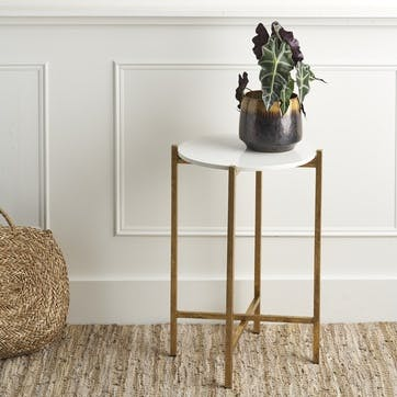Marble Effect Stone Side Table; White and Gold