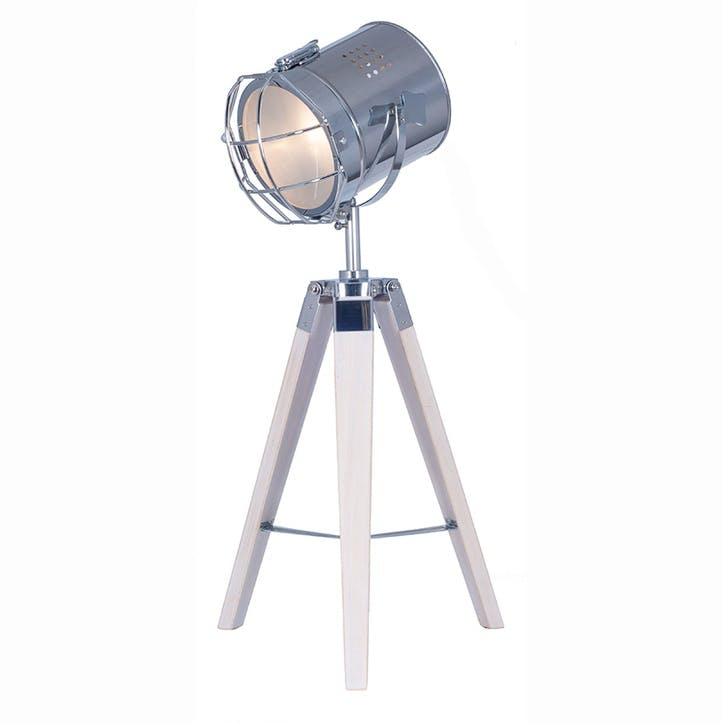 White Wash and Silver Metal Tripod Table Lamp