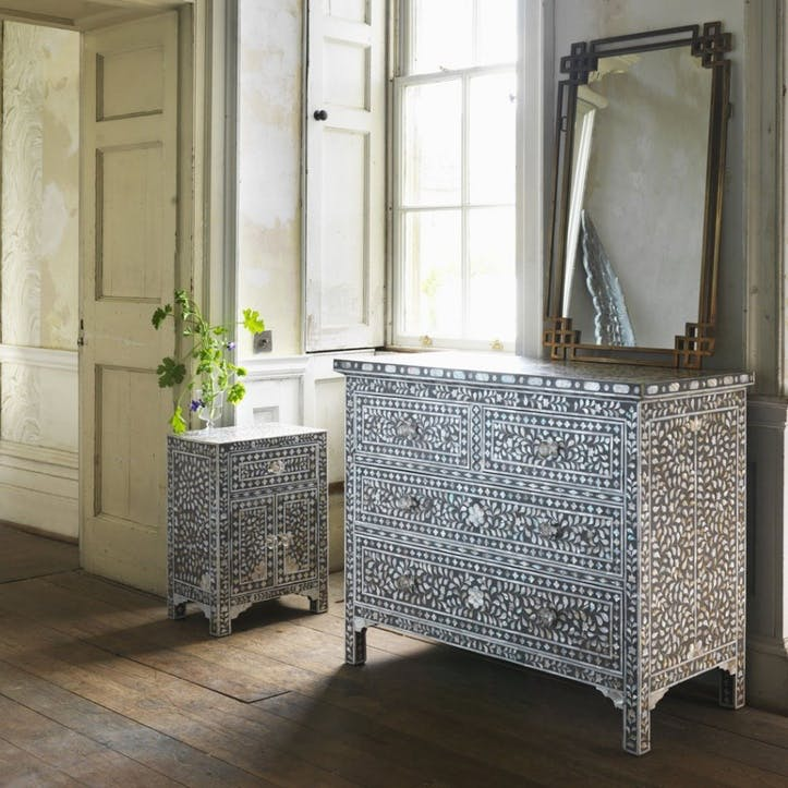 Classic Mother of Pearl Inlay Chest of Drawers in Grey