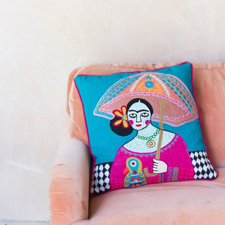 Appliqued Frida Umbrella Cushion