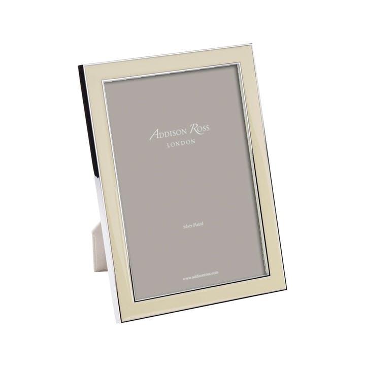 "Silver Plate Enamel Photo Frame - 4"" x 6""; Vanilla"