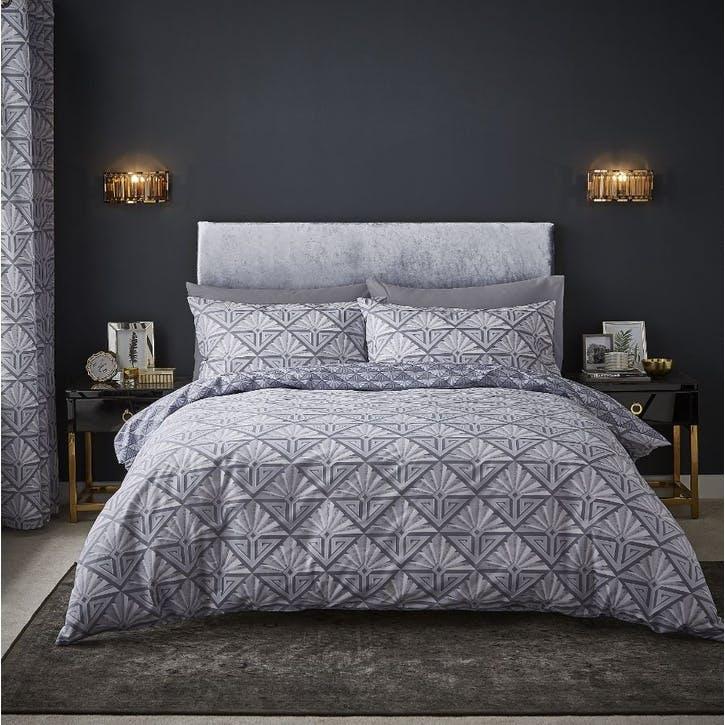 Art Deco Double Bedding Set, Grey