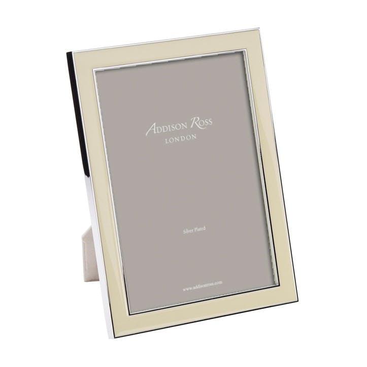 "Silver Plate Enamel Photo Frame - 5"" x 7""; Vanilla"