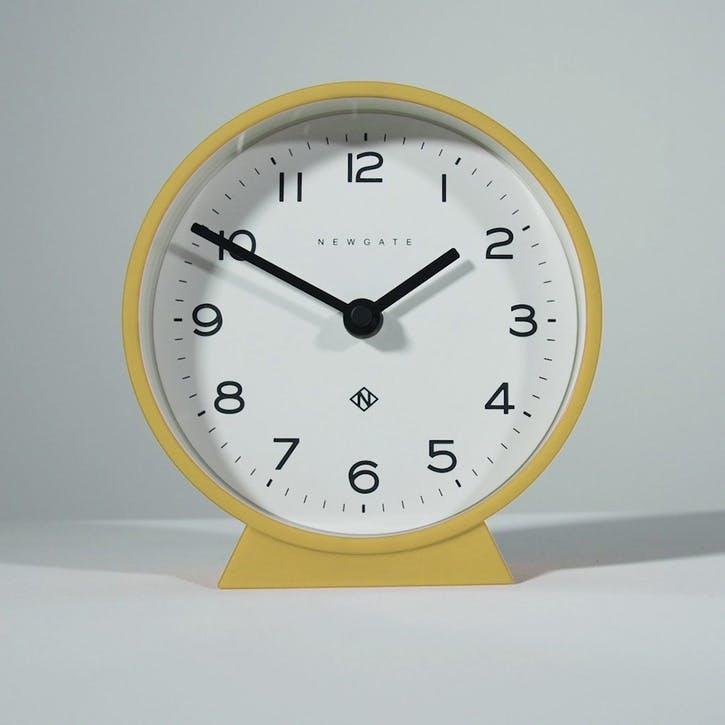 Mr Mantel Echo, Mantel Clock, W17cm x D6cm x H17cm, Yellow