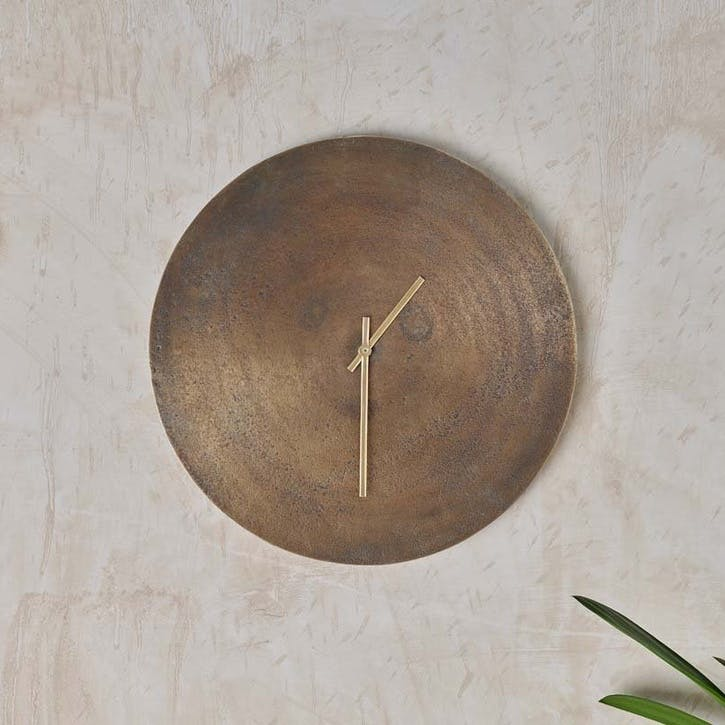Okota Wall Clock, Antique Brass