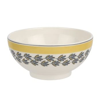 """Westerly Cereal Bowl, Set of Four - 6""""; Yellow Band"""