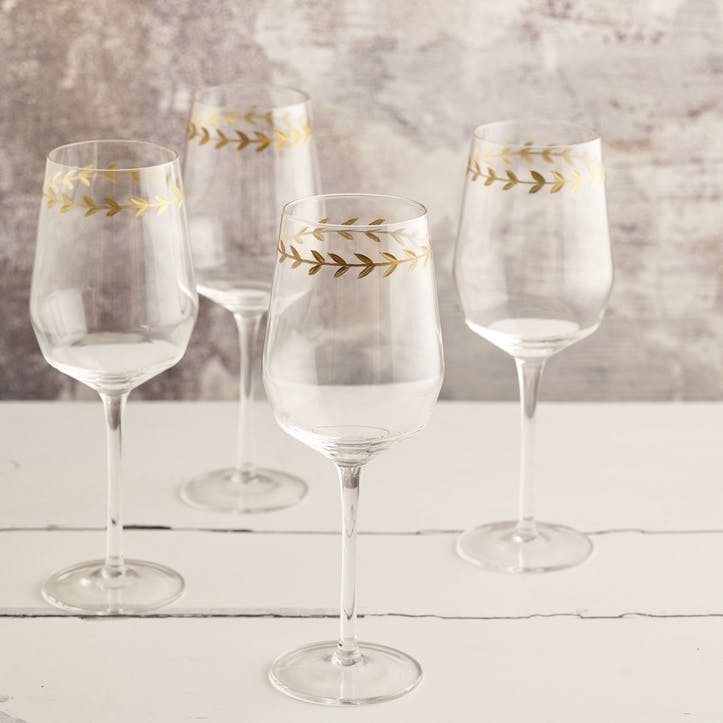 Gold Leaf Red Wine Glass, Set of 4