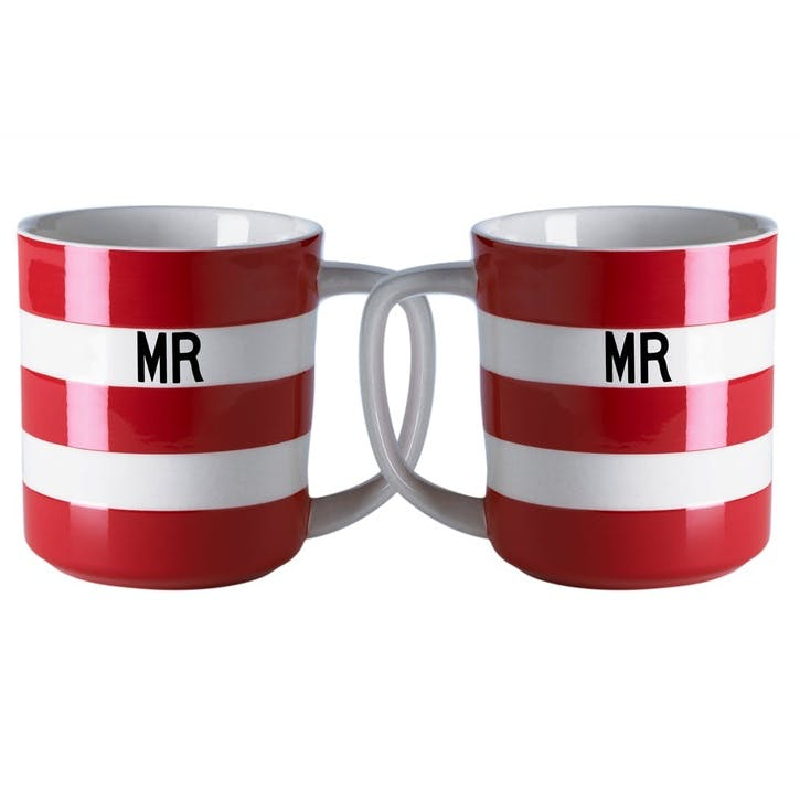 Cornish Red 'Mr & Mr' Mugs, 10oz