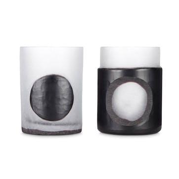 Carved Stem Vase, Set of 2,Black