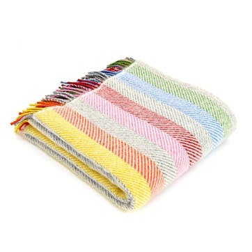 Stripe Blanket, Rainbow Grey