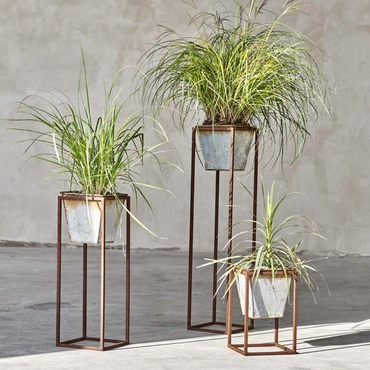 Narlu Planter Stand, Aged Zinc, Medium