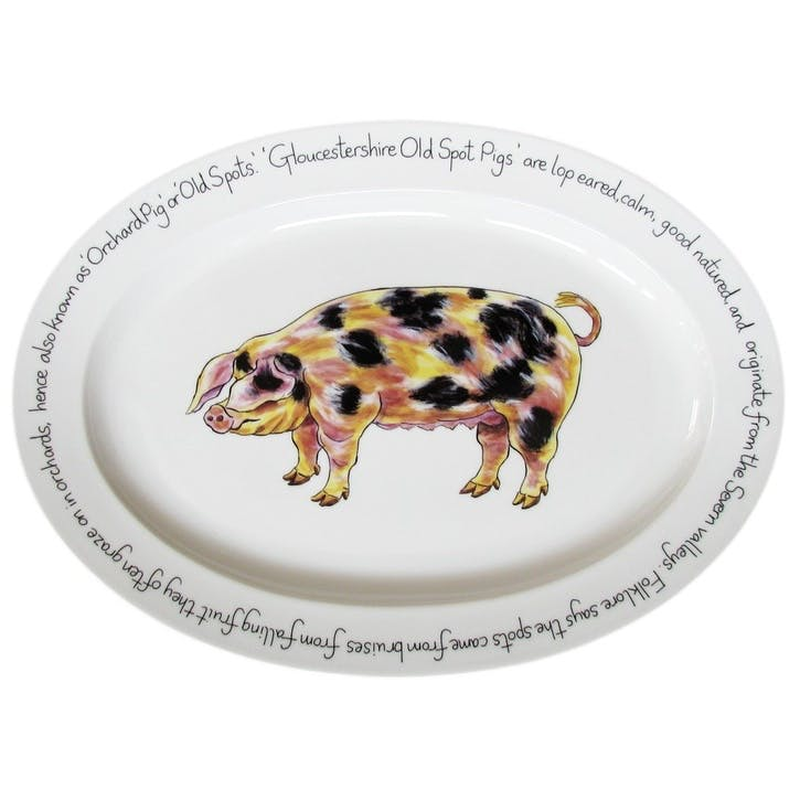 Gloucestershire Old Spot Pig Oval Plate - 39cm