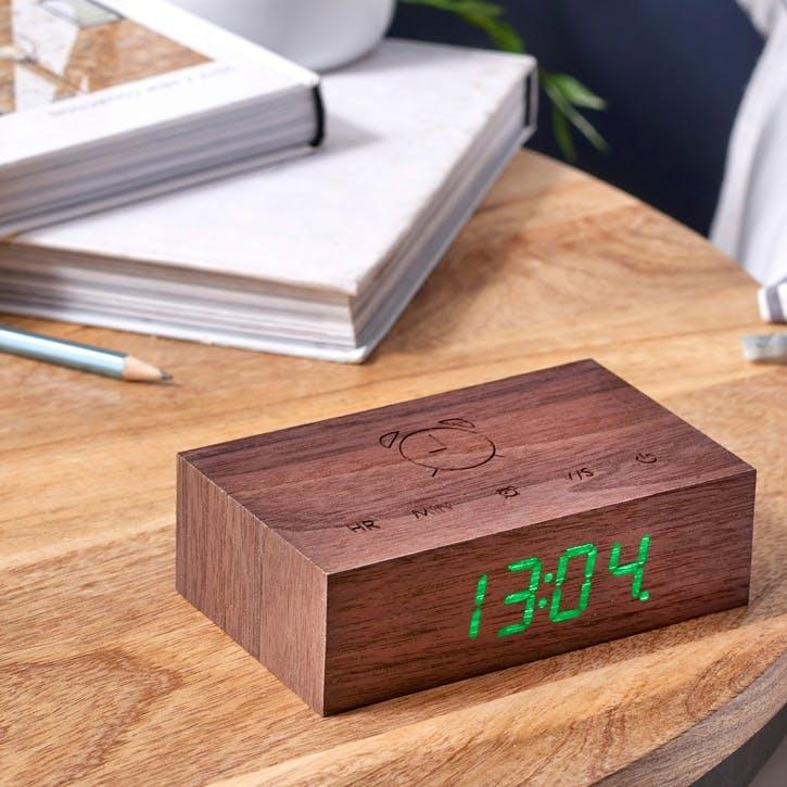 Flip Click Alarm Clock, Walnut