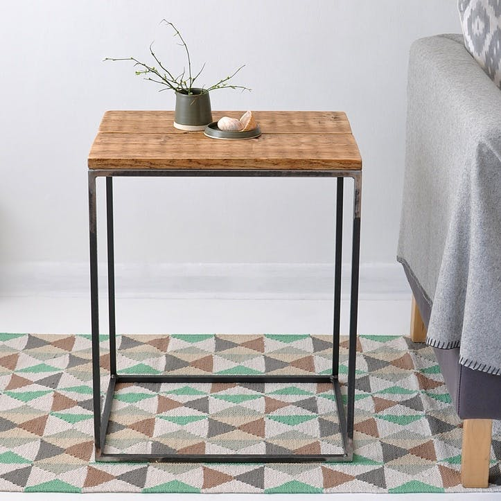 Oxford Wood And Steel Side Table - 55 x 45cm; Natural