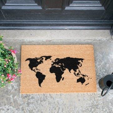 World Map Doormat, Black