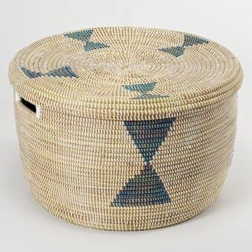 Round Storage Basket, Medium, Natural/ Blue Diamonds