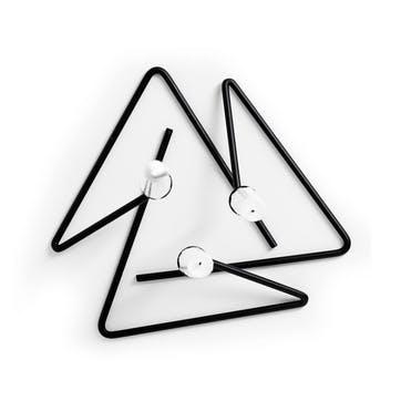 Puzzle Candle Sticks, Set of 3, Black