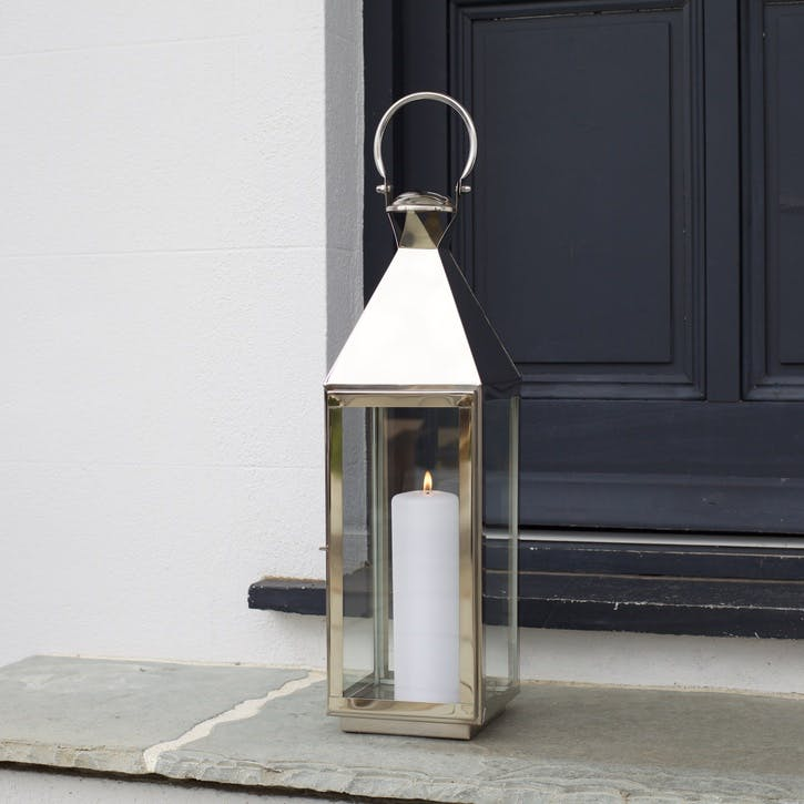 Topsham Stainless Steel Pillar Candle Lantern, Medium