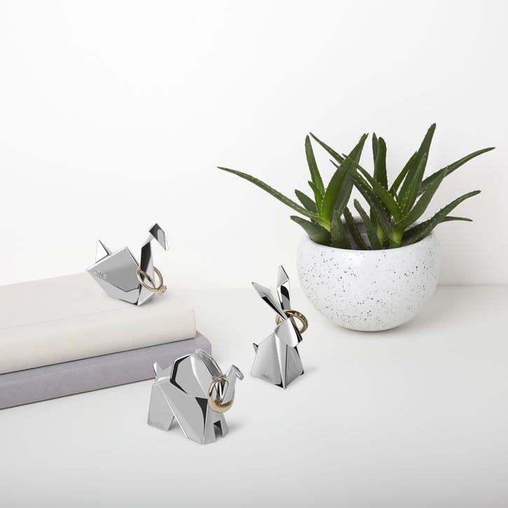 Origami Ring Holder Set of 3, Chrome