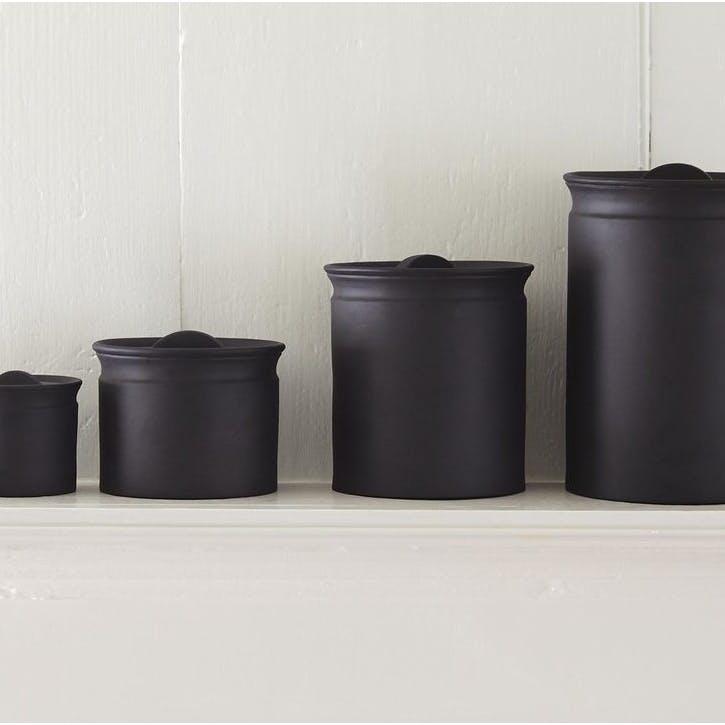Larder Crock Storage Jar, Black, Medium