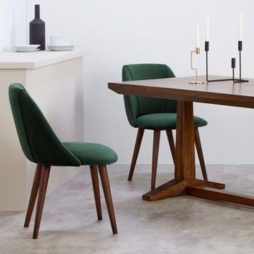 Lule Set of 2 Dining Chairs; Pine Green Velvet