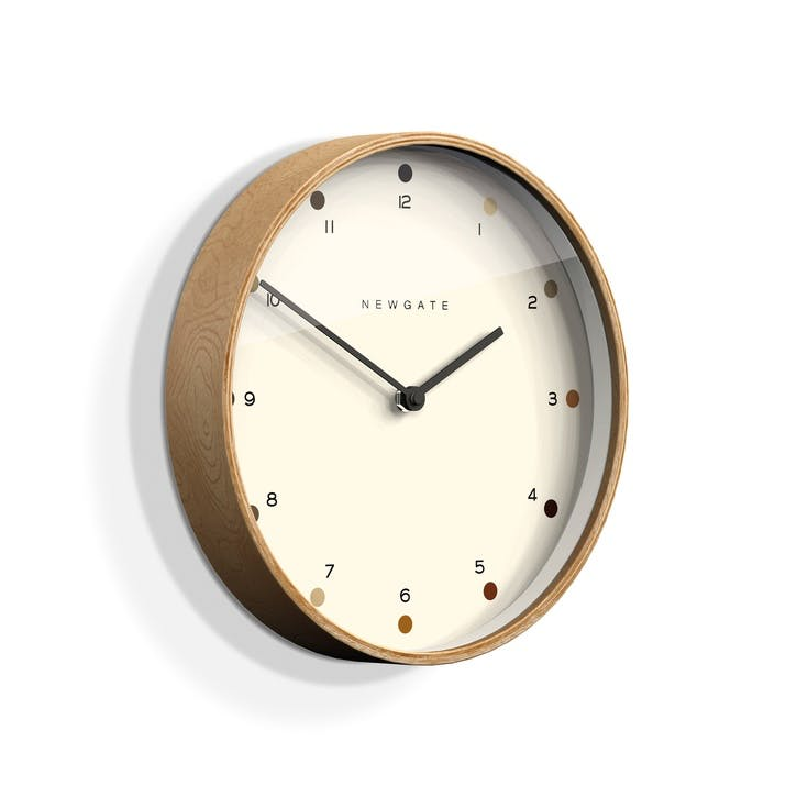 Mr Clarke Wall Clock, Dia. 28cm, Pale Wood/ Dots
