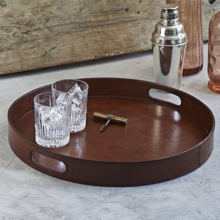 Round Leather Serving Tray