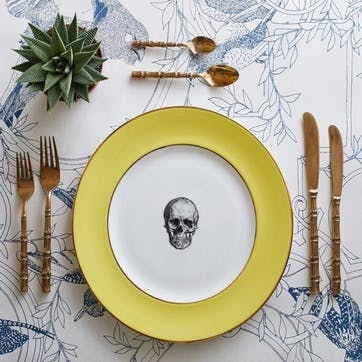 Rock and Roll Skull Dinner Plate, Yellow