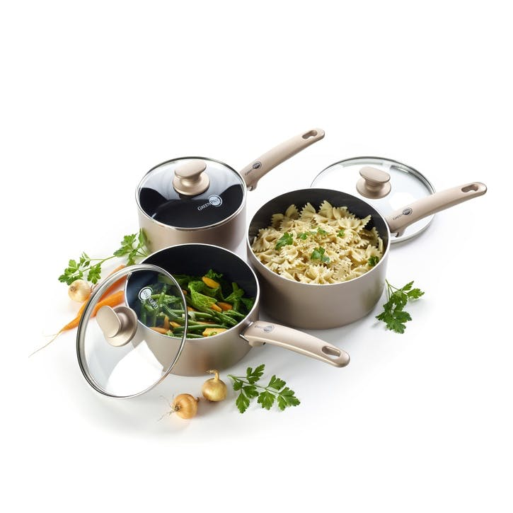 Cambridge Bronze 3pc Saucepan Set with Lids - 16, 18, 20cm